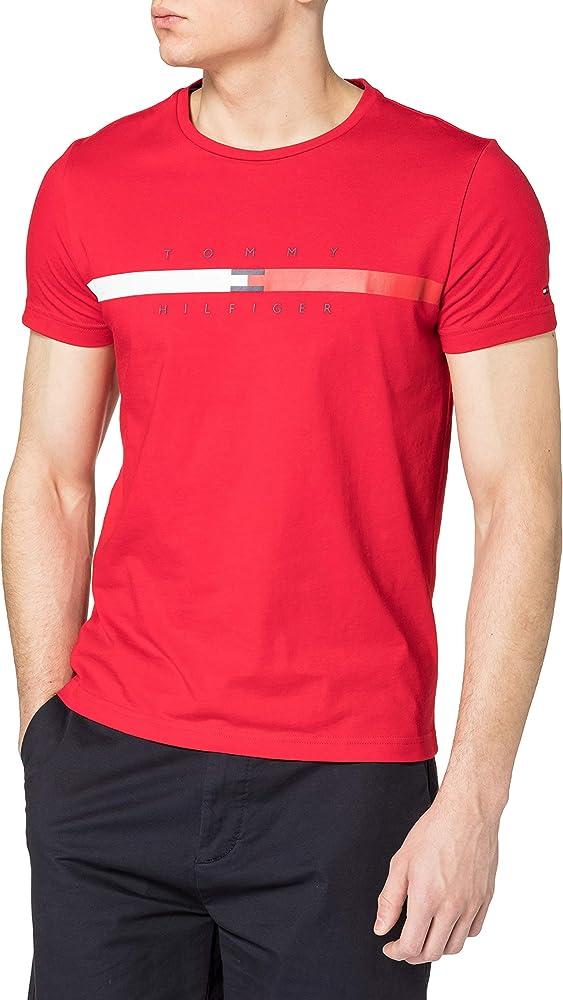 Tommy hilfiger global stripe chest tee t-shirt maglietta da uomo a maniche corte cotone biologico (100%) MW0MW16572E