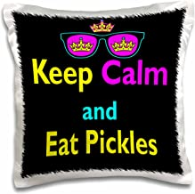 3dRose pc_116645_1 CMYK Keep Calm Parody Hipster Crown and Sunglasses Keep Calm and Eat Pickles-Pillow Case, 16 by 16