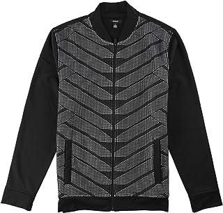 Alfani New $99 Black Gray Herringbone with Knit Detail Hooded Jacket
