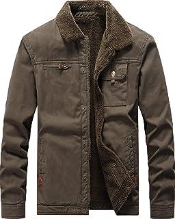معطف Vcansion كلاسيكي للرجال من القطن مبطن بالصوف ملابس خارجية مقاومة للرياح