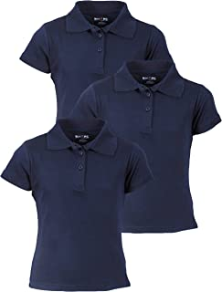 Beverly Hills Polo Club Girls Short Sleeve School Uniform Knit Polo Shirts (3 Pack)