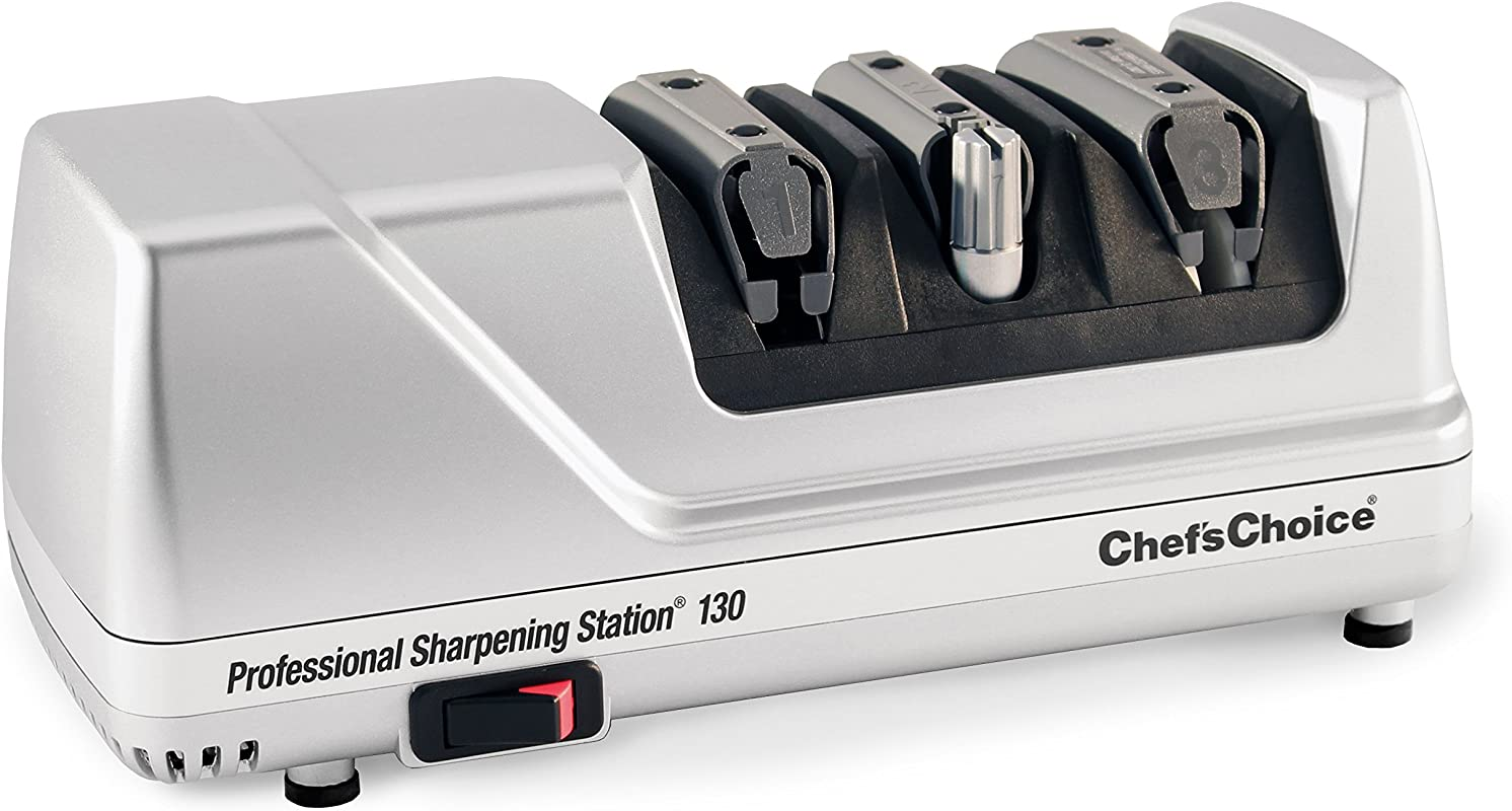 Chef SChoice 130 Professional Electric Knife Sharpening Station For Straight And Serrated Knives Diamond Abrasives And Precision Angle Guides Made In USA 3 Stages Platinum