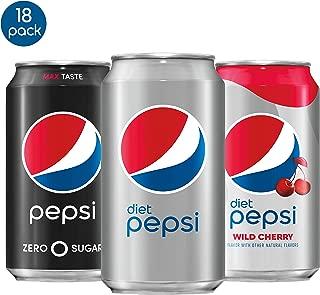 Pepsi Zero Calorie Variety Pack With Diet Pepsi/Diet Wild Cherry/Pepsi Zero Sugar, 12 Fl Oz, Pack Of 18