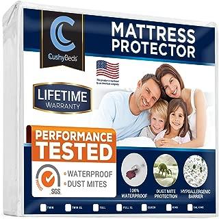 CushyBeds Premium Mattress Protector 100% Waterproof, Hypoallergenic, No Crinkling, 10 Year Warranty, Queen Size