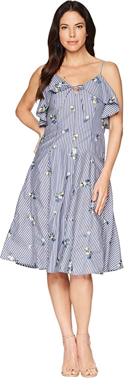 Striped Embroidered Dress CD8G26LQ