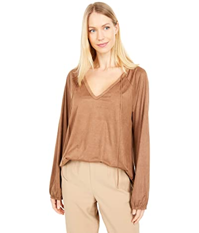 Dylan by True Grit Luxe Suede Knit Long Sleeve V-Neck Tee (Saddle) Women