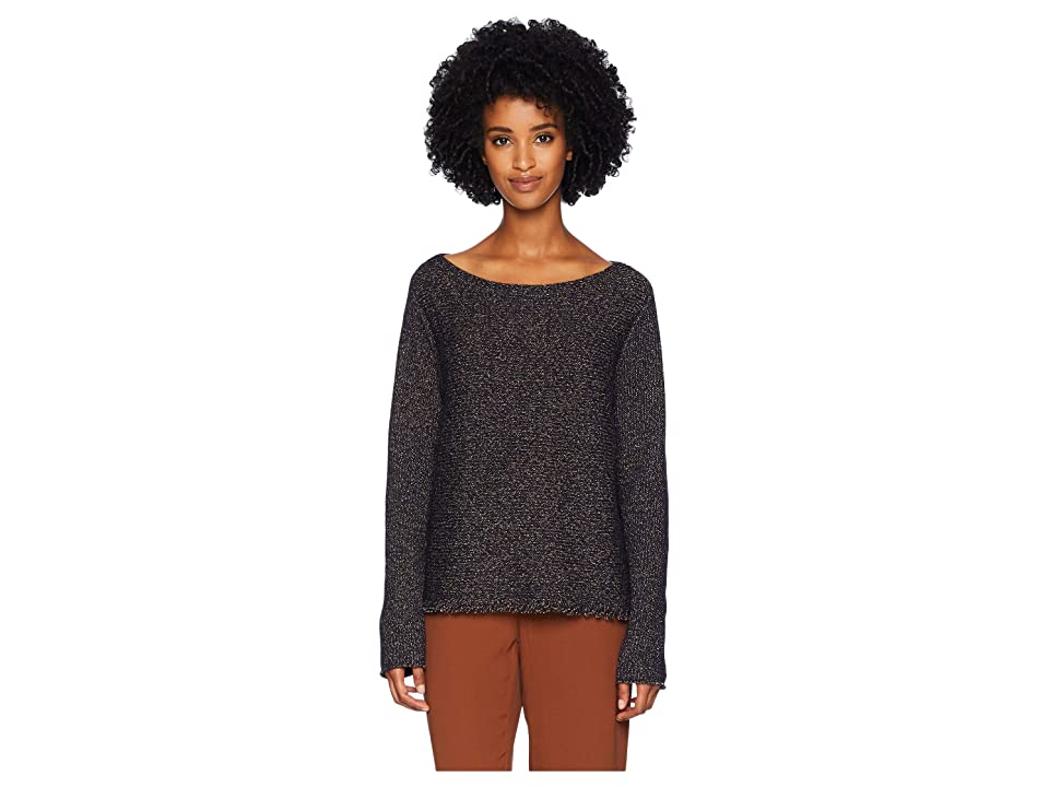 Eileen Fisher Wool Recycled Cotton Polyester Bateau Neck Box-Top w/ Fringe (Midnight) Women