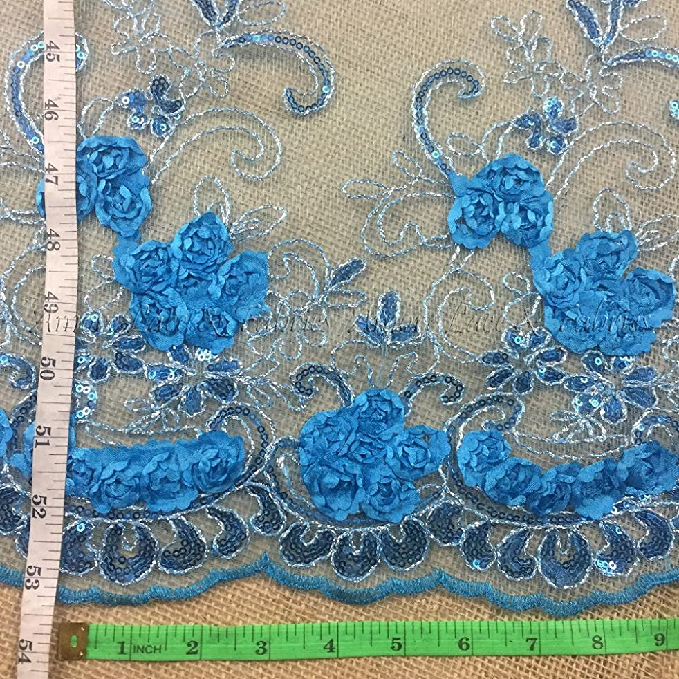 3D Raised Fabric Lace Silver Cord Ribbon Sequins Embroidered Floral Allover Mesh, 52