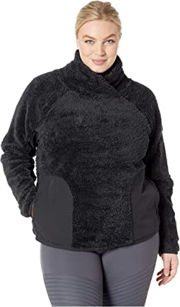 Long Sleeve Pullover Sherpa Top (Size 1X-3X)