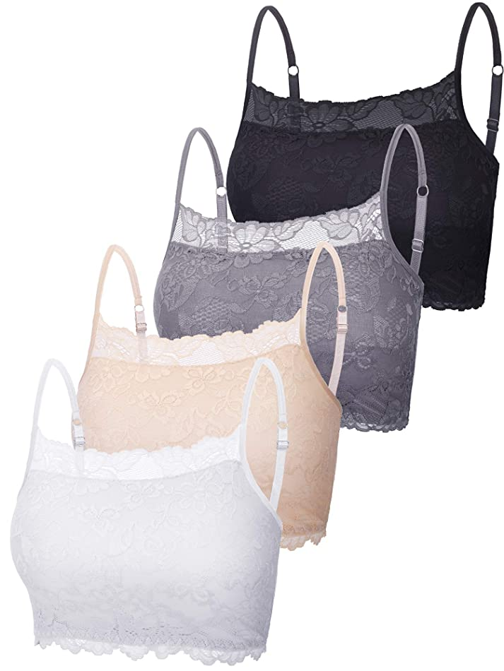 4 Pieces Women's Lace Cami Stretch Lace Half Cami Breathable Lace Bralette Top for Women Girls f2578187927
