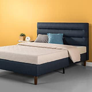 Zinus Upholstered Horizontally Cushioned Platform Bed / Mattress Foundation / Easy Assembly / Strong Wood Slat Support / Navy, Full