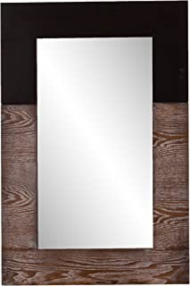 Southern Enterprises Wagars Wood Grain Wall Mirror - Two Tone Burnt Oak & Black - Clean Modern Hanging Mirror