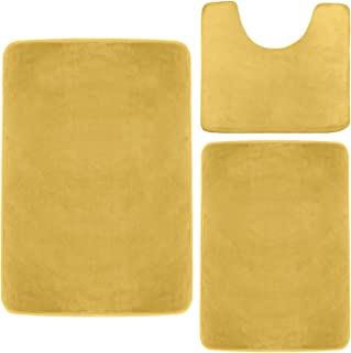 Clara Clark Memory Foam Bath Mat, Ultra Soft Non Slip and Absorbent Bathroom Rug. – Camel Gold, Set of 3 - Small/Large/Contour
