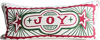 Creative Co-op Rectangle Joy Stamp Cotton Pillows, Multicolored