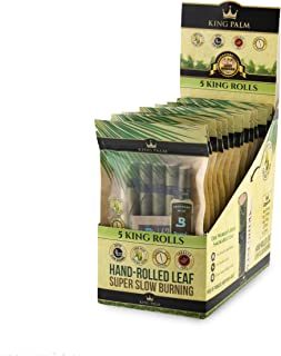 King Palm Hand Rolled Leaf Wrap Rolls - 5 Rolls/Pouch - 15 Pouch Display Box - (King)