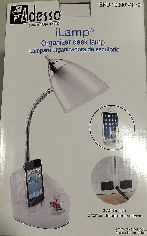 Adesso Limited price sale iLamp 16 in. White Clear Desk Ranking TOP11 Organizer