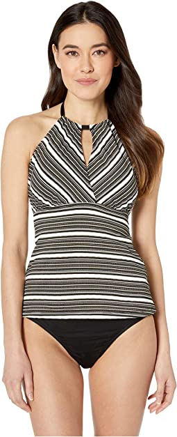 Luxe Gold Stripe High Neck Surplice Tankini Top