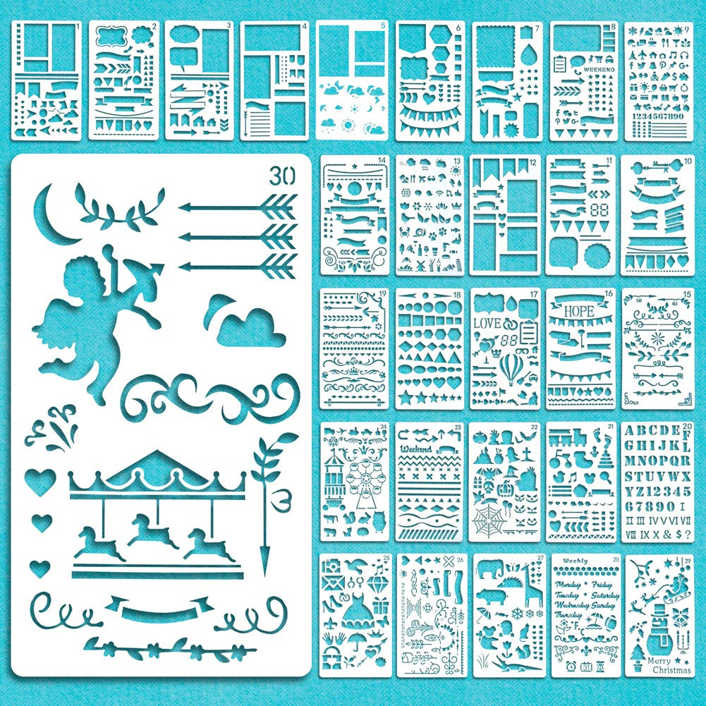 Plastic Planner Stencils for Journaling//Scrap booking//Notebook//Diary//Card//Wood Burning//DIY Craft Lirener 20Pcs Bullet Journal Stencil Set Letters, Flowers, Feather, Angel 10.8x7.5 inch