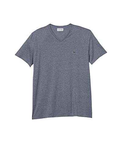 Lacoste Short Sleeve V-Neck Pima Jersey T-Shirt (Light Indigo Blue) Men