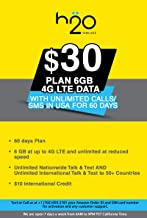 USA Prepaid SIM Card H20 $30 Plan 6GB 4G LTE Data with Unlimited Calls/SMS in USA for 60 Days