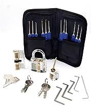 Lock Pick Set, 24 Stuk Lockpicks Transparant Training Hangslot en Credit Card Lock Picking Tools kit, voor Beginner en Slo...