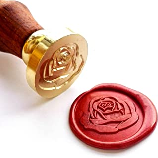VOOSEYHOME the Rose Wax Seal Stamp with Rosewood Handle, Decorating on Invitations Envelope Sealers Letters Posters Cards Gift Packings for Birthday Themed Parties Weddings Signatures etc
