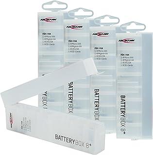 ANSMANN Batteriebox für AAA Micro, AA Mignon Akkus & Batterien, Spezialbatterien & Speicherkarten   Akkubox zum Schutz & Transport für 8 Accus   Batterie Box & Akku Box zur Aufbewahrung   5 Stück