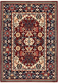 """Moretti Overture Area Rug 2062R Traditional Red Blocks Rings 9' 10"""" x 12' 10"""" Rectangle"""