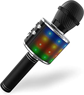 Wireless Bluetooth Karaoke Microphone,Portable Handheld Karaoke Mic Speaker Player with LED Lights, Adjustable Remix and R...