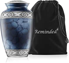 Reminded Cremation Memorial Urn for Human Ashes, Silver and Blue Adult Funeral Urn with Velvet Bag