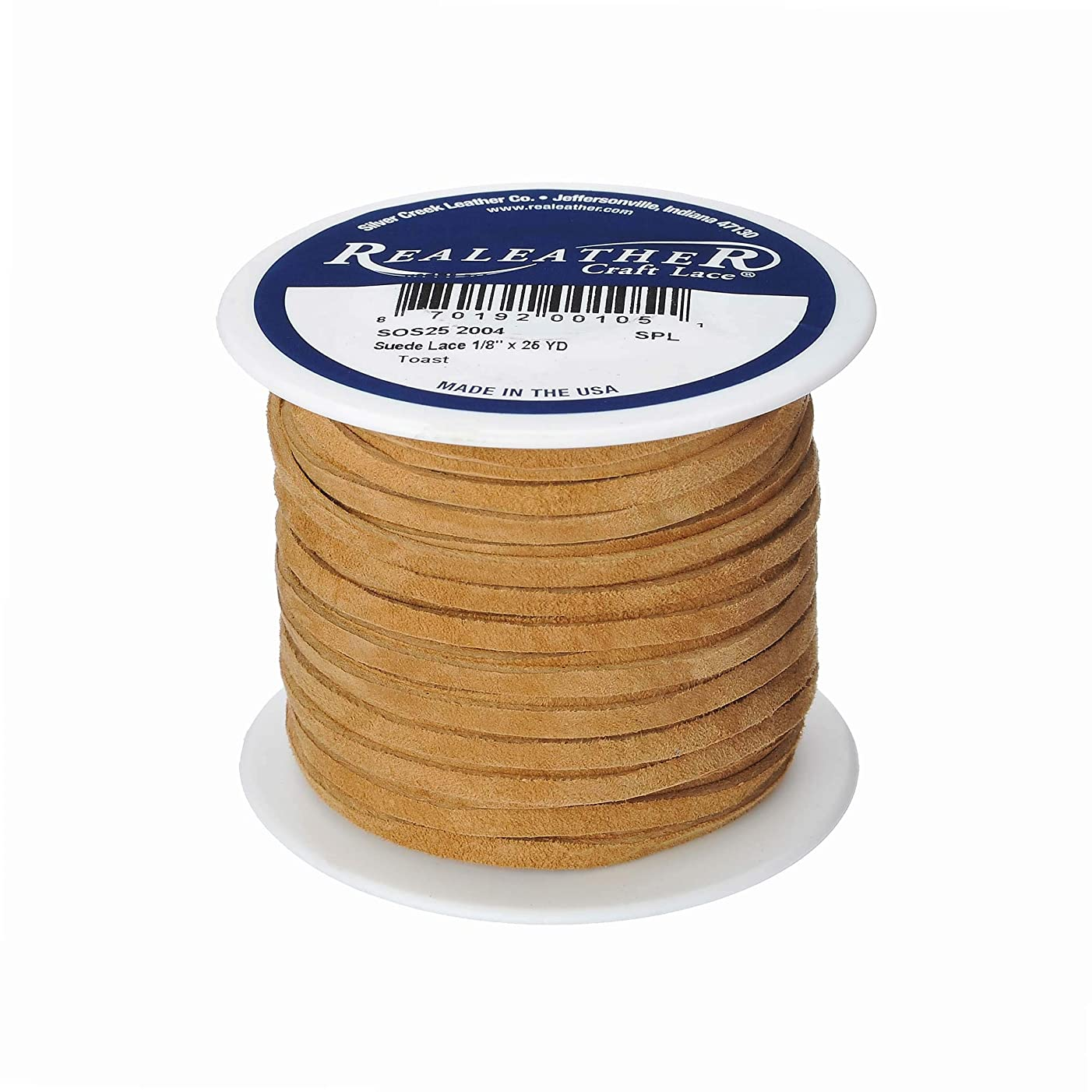 Realeather Crafts Suede Lace, 0.125-Inch Wide and 25-Yard Spool, Toast