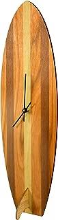 Cardboard Safari   Baltic Birch Vintage Inspired Surfboard Wall Clock   Made in The USA (White Stripe)