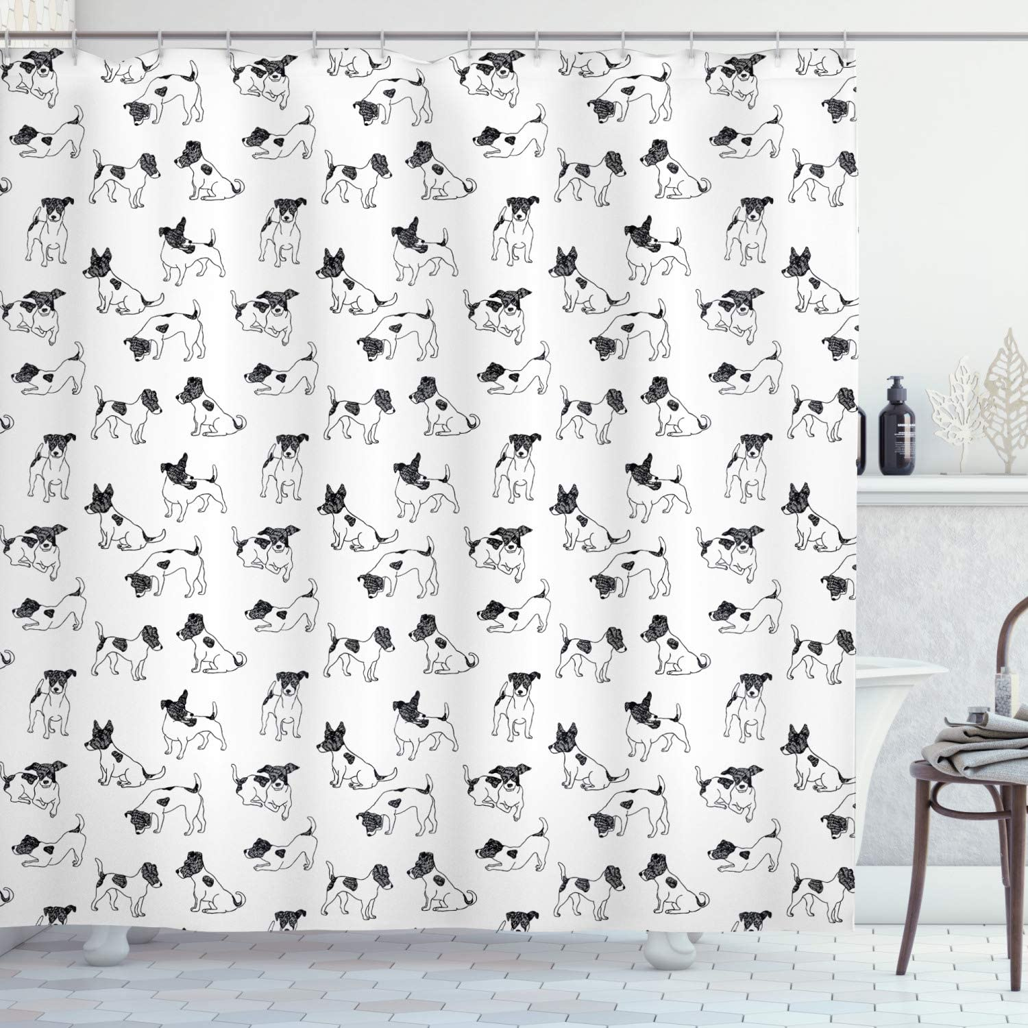Ambesonne Dog Lover Shower Curtain Style Drawn Regular discount Sketch Jack OFFicial Hand