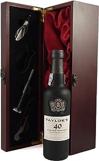Taylor Fladgate 40 year old Tawny Port 37.5cls in einer mit Seide ausgestatetten Geschenkbox. Da zu vier Wein Zubehör, Korkenzieher, Giesser, Kapselabschneider,Weinthermometer, 1 x 750ml