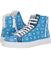 MCM - White Logo High Top Visetos Sneakers