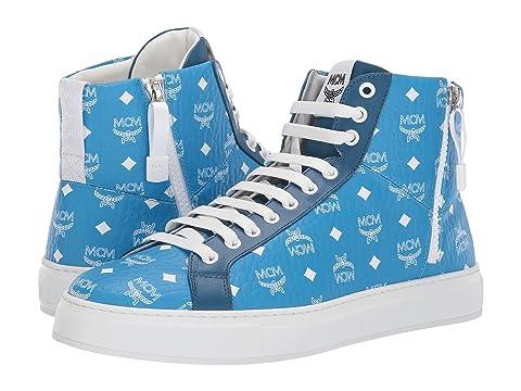 MCM White Logo High Top Visetos Sneakers