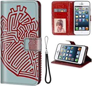 Case for iPhone 5C, Leather Wallet Cover with Stand Flip Protective Printing Design Maze Painting Pattern Maze red Maze Stripe Maze Picture Maze Heart Full Body