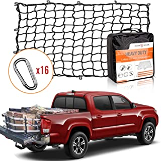 Seven Sparta 4' x 6' Bungee Cargo Net Stretches to 8' x 12' for Truck Bed, Pickup Bed, Trailer, Trunk, SUV with 16 Bonus D Clip Carabiners Universal Heavy Duty Car Rear Organizer Net for Large Loads