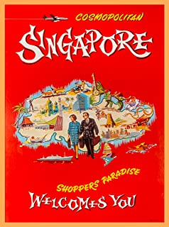 A SLICE IN TIME Singapore Shoppers Paradise Welcomes You Southeast Asia Asian Vintage Travel Home Collectible Wall Decor Advertisement Art Poster Print. 10 x 13.5 inches