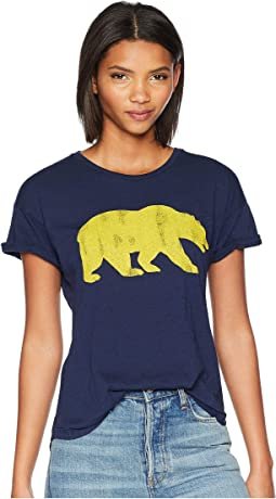 Cal Bear Slub Crew Neck Rolled Short Sleeve Tee