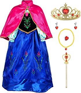 Snow Party Elsa Dress Queen Costume Princess Anna Girls Dress Up