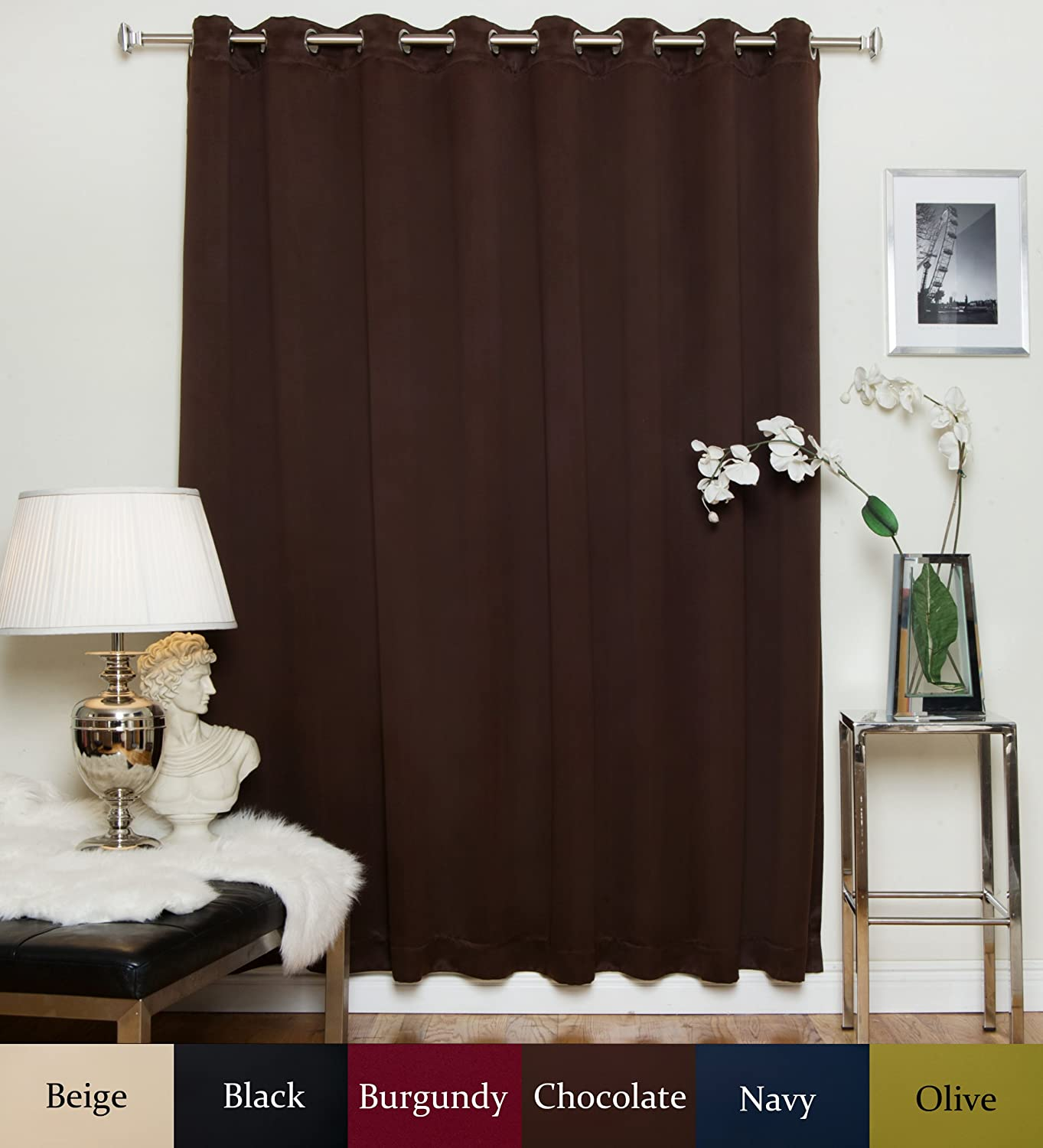 Blackout Curtain Chocolate Wide Width Nickel Grommet Top Thermal Insulated 100 Inch Wide by 120 Inch Long Panel