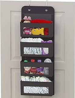 Simplehouseware Over Door/Wall Mount 4 Clear Window Pocket Organizer, Dark Grey