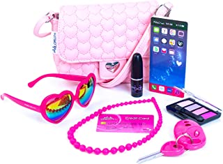 PixieCrush Pretend Play Purse & Makeup for Girls - Fun Little Girl Cosmetics Toys Set with Pretend Makeup, Eyeshadow, Cell Phone, Kids Lipstick, Sunglasses & Keys