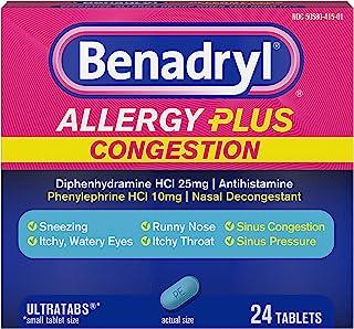 Benadryl Allergy Plus Congestion Ultratabs, Allergy & Congestion Relief Medicine, 24 ct