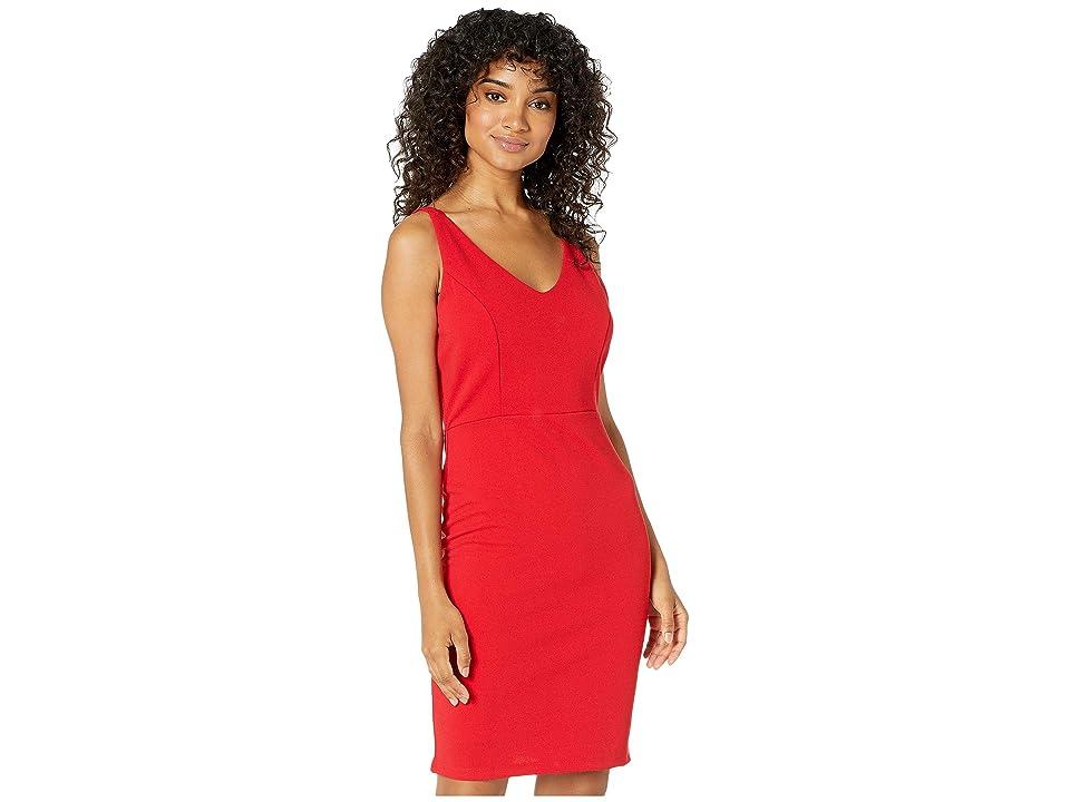 Bebe V-Neck Sleeveless Dress (Red) Women