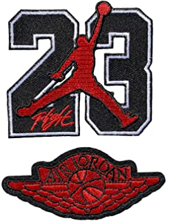 Iron on Patch 23 Jordan Symbol Basketball Air NBA Sew Embroidered Backpacks Jeans Jersy (Set of 2)