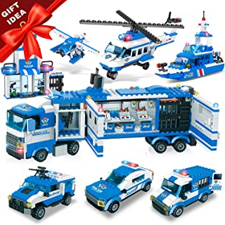 WishaLife 1115 Pieces City Police, City Station Building Sets, 8 in 1 Mobile Command Center Building Bricks Toy with Cop Car & Patrol Vehicles for Kids Gift with Storage Box
