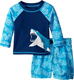 Hatley Kids - Shark Alley Mini Swim Trunks & Rashguard Set (Infant)