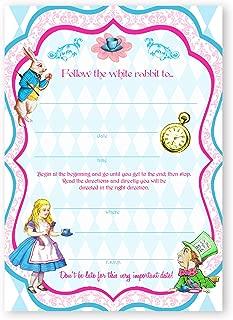 POP parties Alice in Wonderland Classic Large Invitations - 10 Invitations + 10 Envelopes